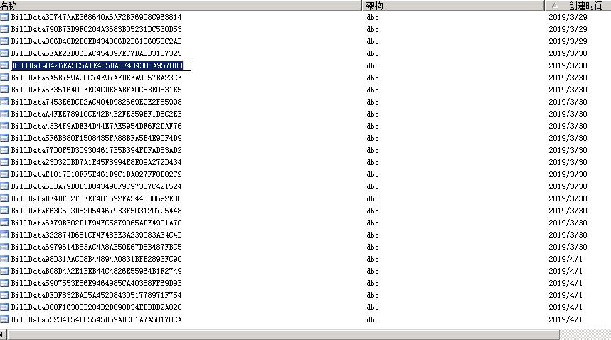 数据库中自己创建了很多表billdata开头的????