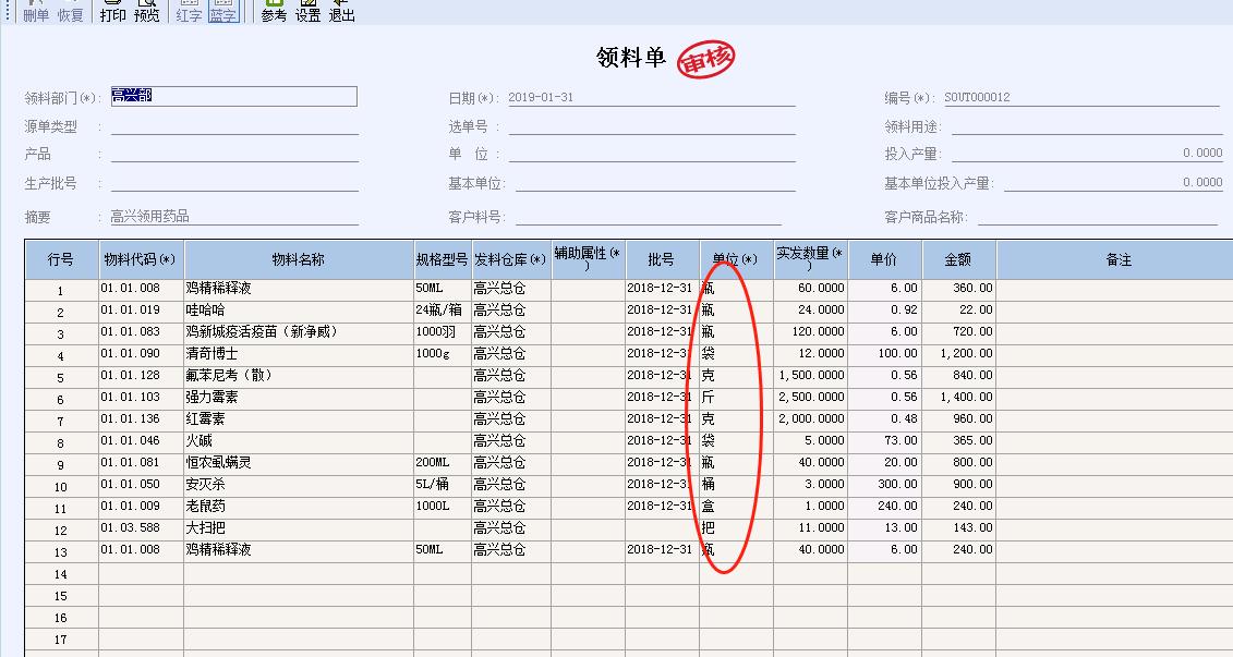 业务单据生成的凭证,默认基本计量单位,不能采取实际计量单位